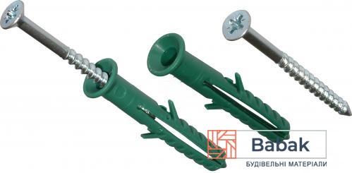 Дюбель швидкого монтажа 8×100мм зелений 50 шт / Потай