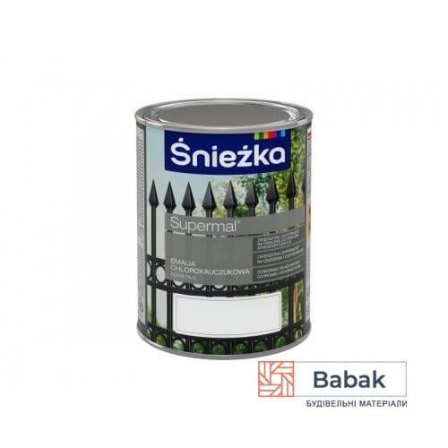 Хлоркаучукова емаль Біла 900мл Supermal Sniezka RAL 9010